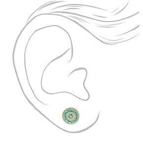 Gold Circle Stud Earrings - Teal,