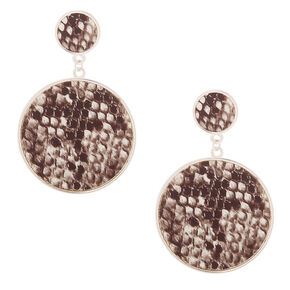 "2.5"" Snakeskin Circle Drop Earrings,"