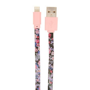 Dark Floral Aztec Print USB Lightning Charging Cable,