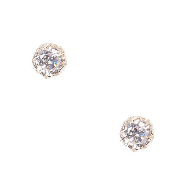 5mm Sterling Silver Cubic Zirconia Stud Earrings,