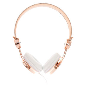 Rose Gold-Tone & Marble Print Headphones,