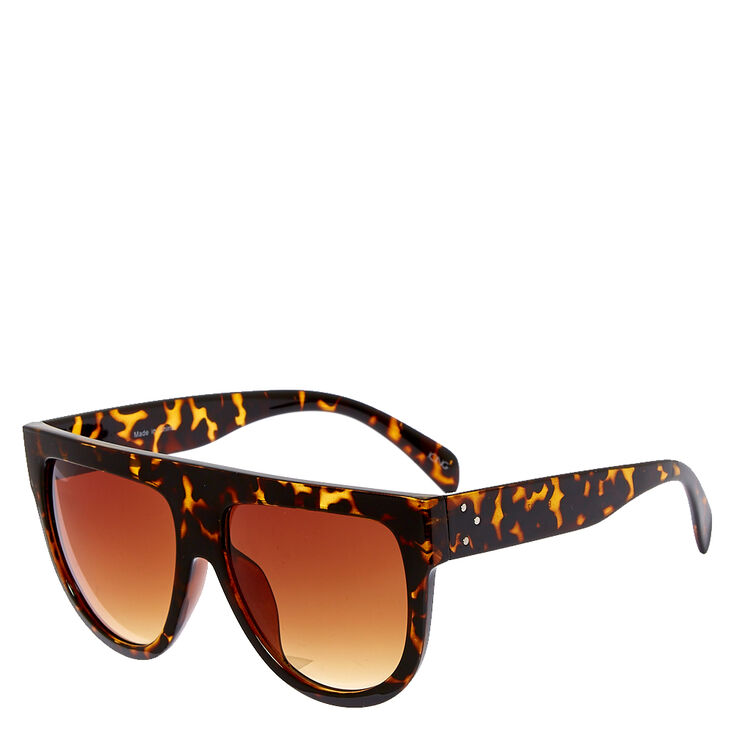 Flat Brow Retro Faux Tortoise Shell Sunglasses,