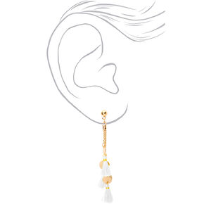 "Gold 2.5"" Disc Tassel Drop Earrings - White,"