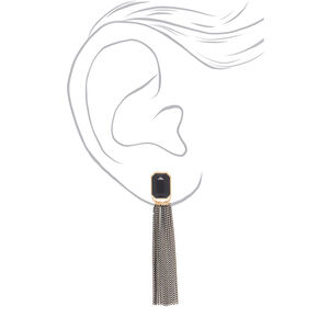 "3"" Stone Tassel Drop Earrings - Black,"