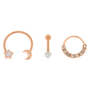 Rose Gold 14G Celestial Cartilage Earrings - 3 Pack,