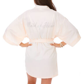 Light Pink Satin & Crystal Maid of Honor Robe - M/L,