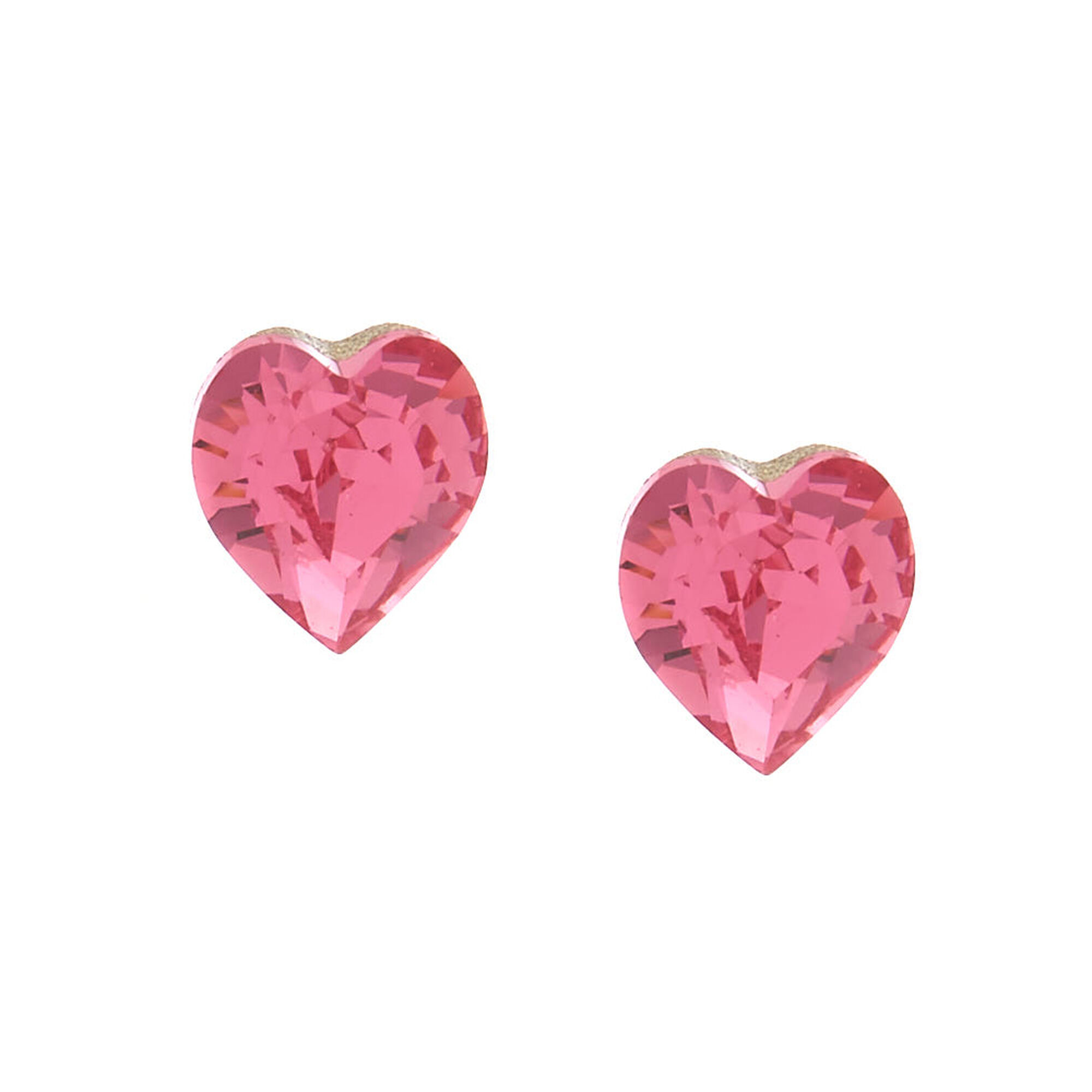 Sterling Silver Swarovski Reg Elements Heart Stud Earrings Pink