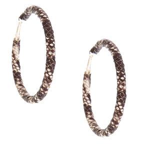 70MM Snake Skin Wrapped Hoop Earrings - Black,
