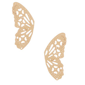 Gold Butterfly Wing Stud Earrings,