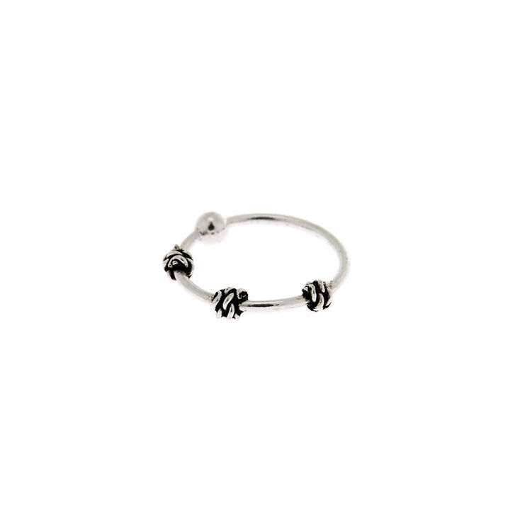Sterling Silver 22G Bali Twist Nose Ring,