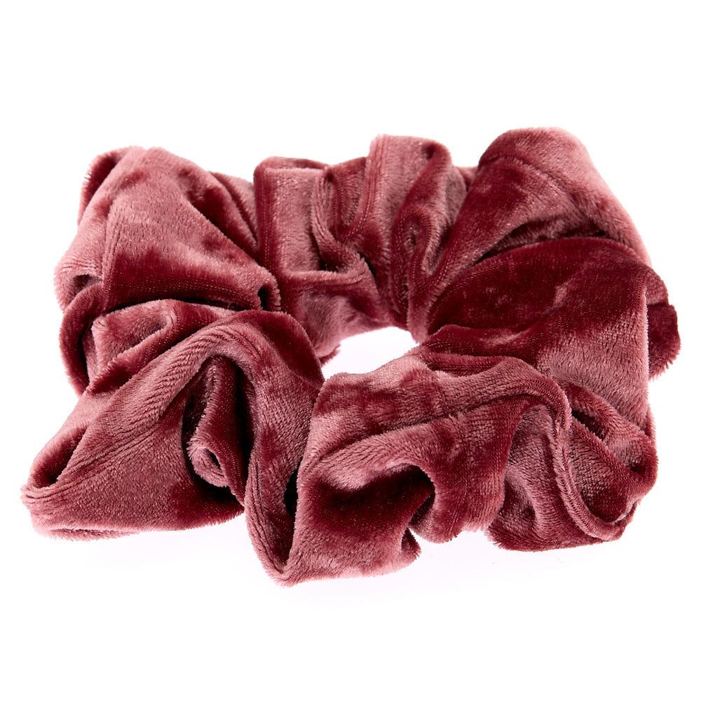 ... Large Velvet Hair Scrunchie   Mauve Pink,