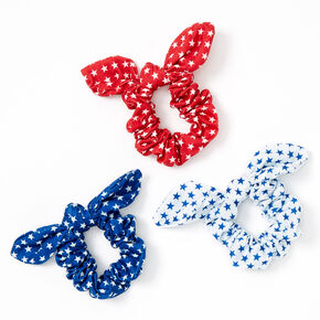 Small Red, White & Blue Stars Knotted Bow Hair Scrunchies - 3 Pack,