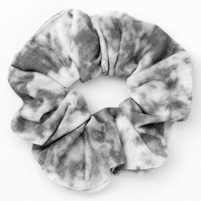Medium Grey & White Tie Dye Hair Scrunchie,