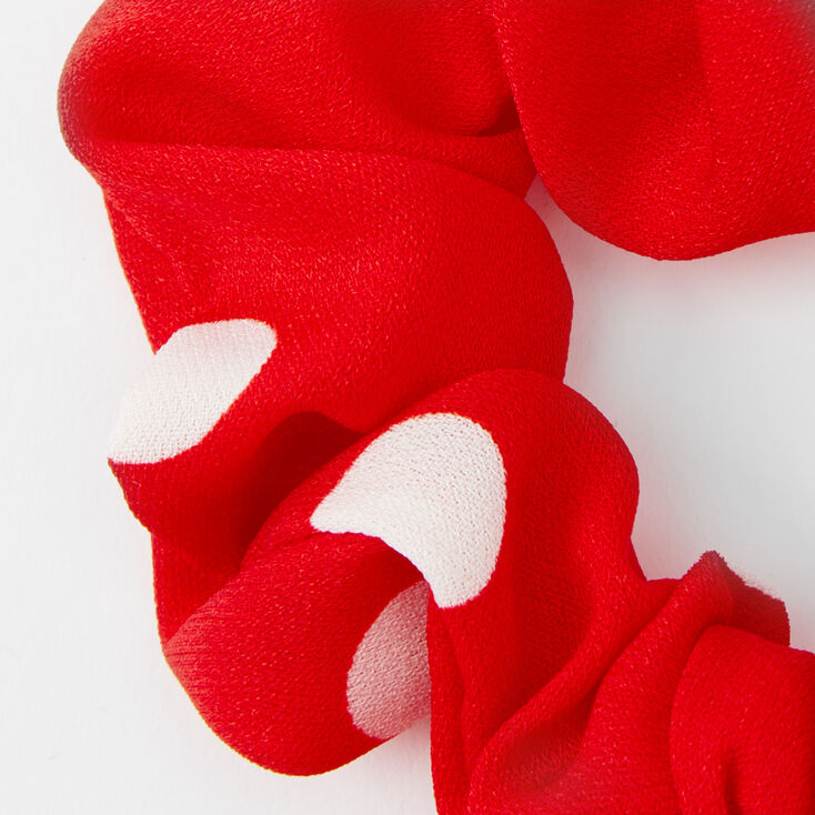 Small Polka Dot Knotted Bow Hair Scrunchie - Red,