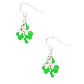 """Silver 1"""" Layered Shamrock Drop Earrings - Green,"""