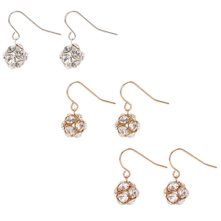 3 Pack Mixed Metal Clear Crystal Ball Drop Earrings,