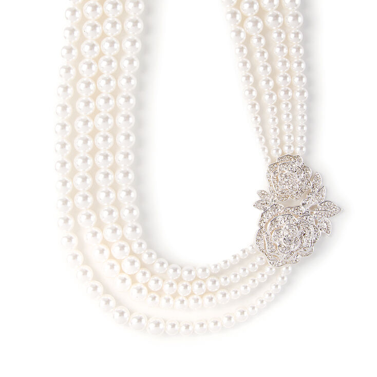 Vintage Style Jewelry, Retro Jewelry Icing Multi-Strand Pearl Necklace with Vintage Pavé Crystal Roses $18.50 AT vintagedancer.com