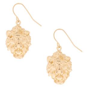 """Gold 1"""" Lion Drop Earrings,"""
