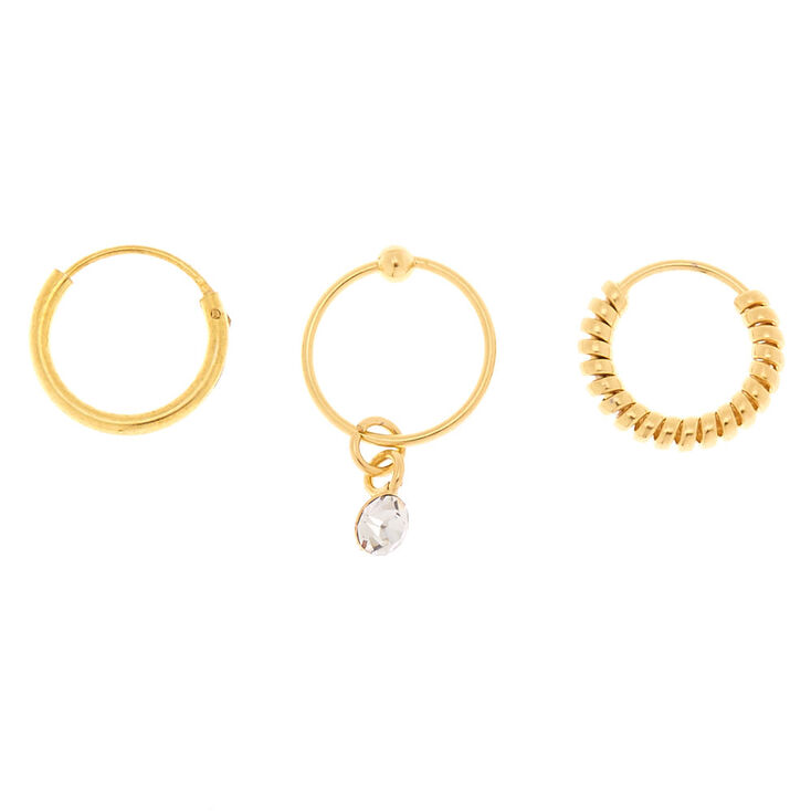 Gold 22G Stone Coil Cartilage Hoop Earrings - 3 Pack,