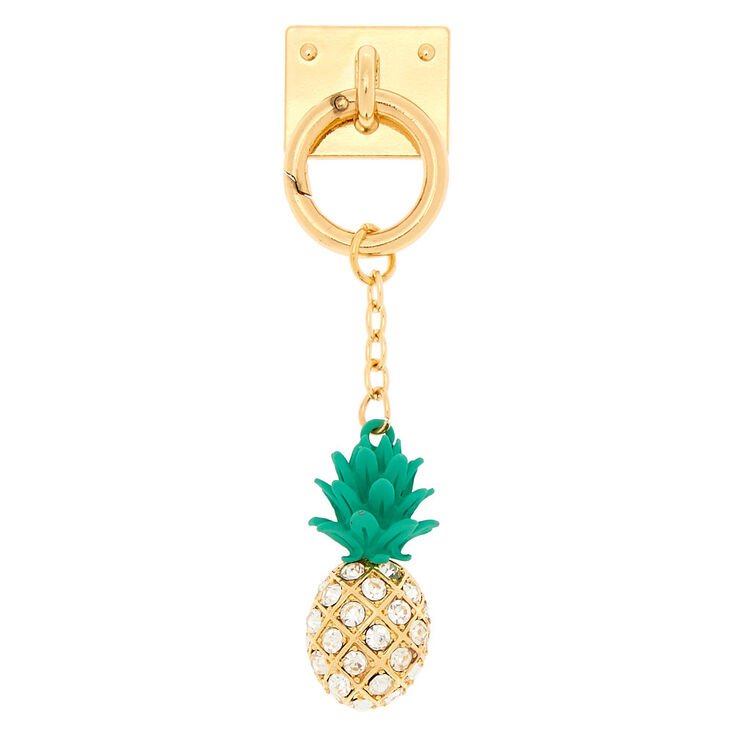 Glam Pineapple Phone Charm - Gold,