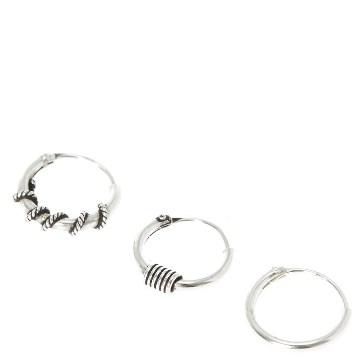 3 Pack Sterling Silver Barley Nose Hoops,