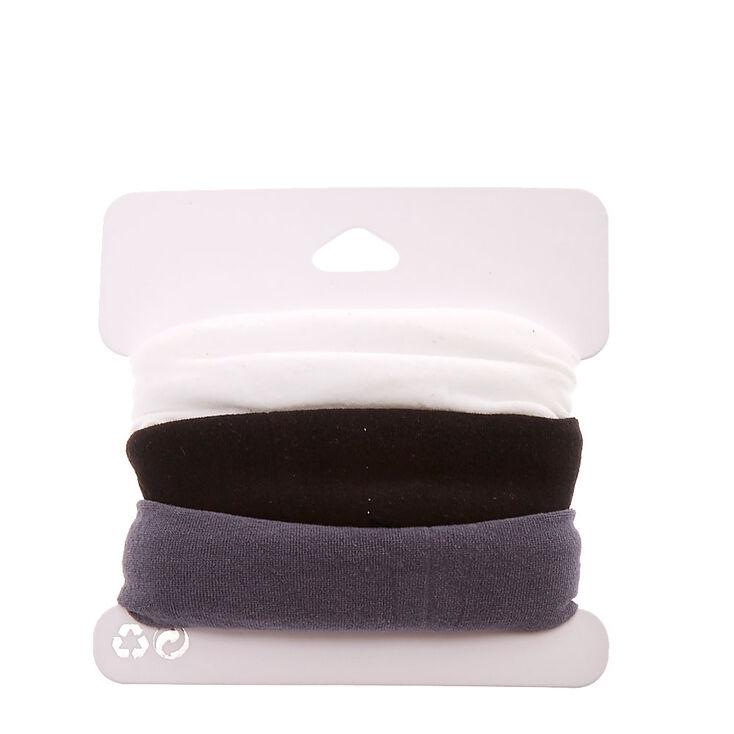 Black, Gray, & White Nylon Hair Ties,