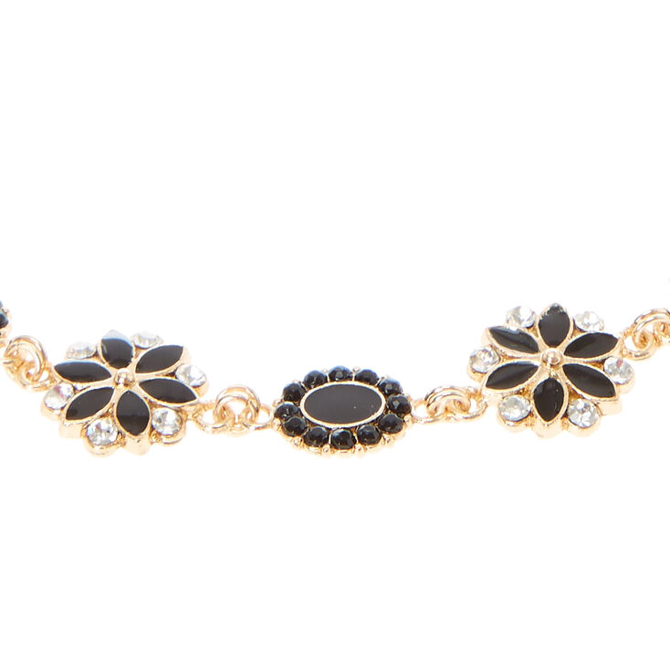 Gold, Black, & Crystal Flower Head wrap,