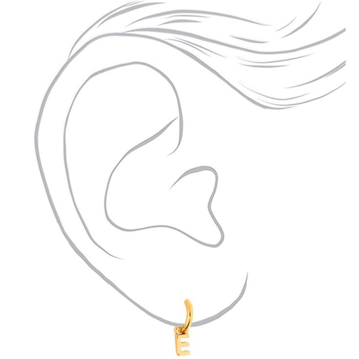 Gold 10MM Initial Huggie Hoop Earrings - E,