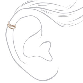 Silver Tone Double Row Crystal Lined Ear Cuff,