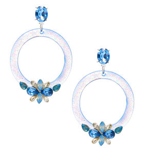 "Silver 2"" Emebllished Drop Earrings - Blue,"