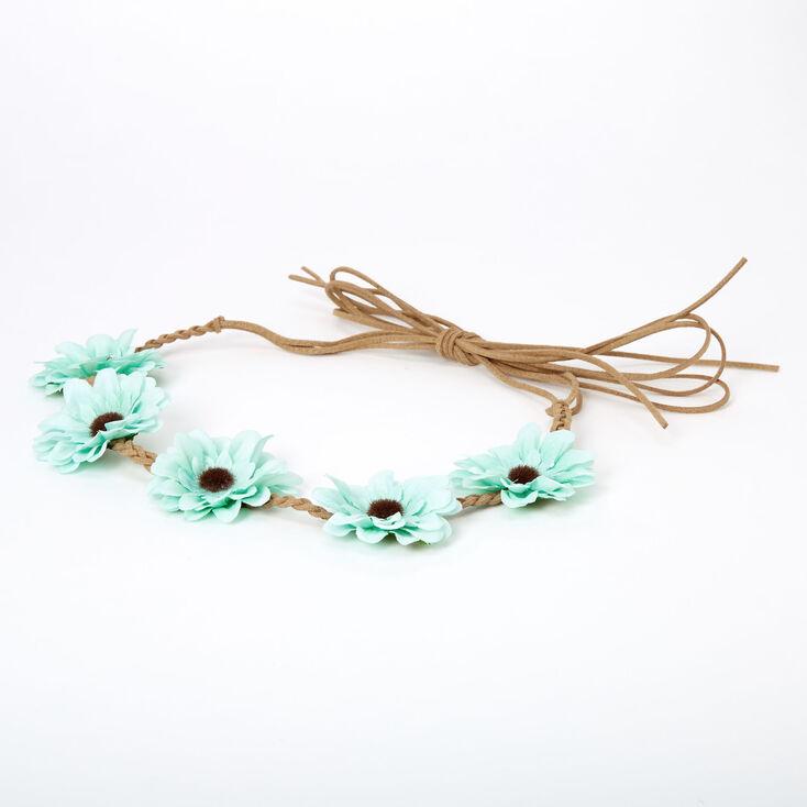 Daisy Flower Tie Headwrap - Mint,