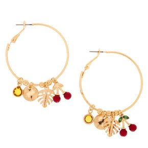 Gold 40MM Cherry Leaf Hoop Earrings,