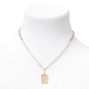 Gold Rectangle Zodiac Symbol Pendant Necklace - Aries,