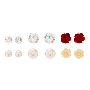 6 Pack Magnetic Cubic Zirconia Stud Earrings,