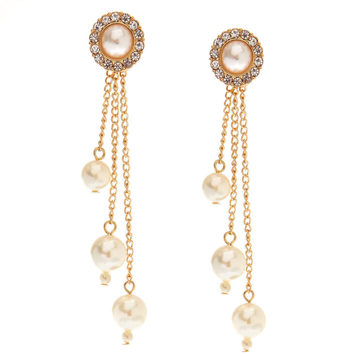 Gold Tone & Ivory Pearl Drop Earrings,