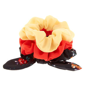 Spring Floral Bow Hair Scrunchies - 3 Pack,