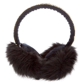 Furry Bling Band Ear Muffs - Black,