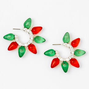 Red & Green Holiday Lights Hoop Earrings,