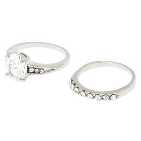 Silver Cubic Zirconia Engagement Rings - 2 Pack,