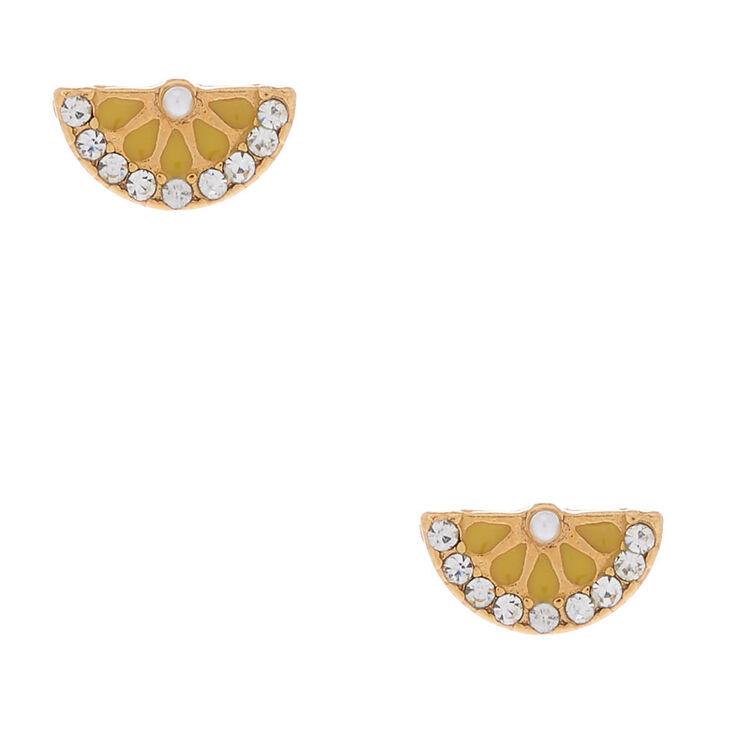 18kt Gold Plated Lemon Slice Stud Earrings,