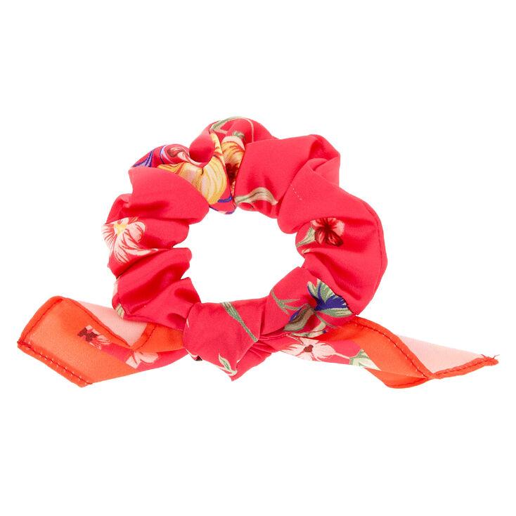 Silk Floral Bow Hair Scrunchie - Hot Pink,