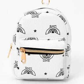 Winged Love Mini Backpack Keychain - White,