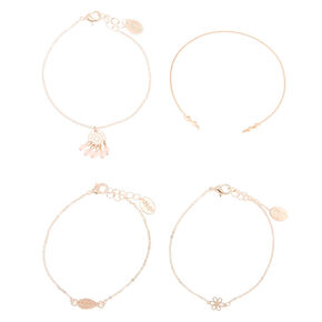Rose Gold Delicate Bracelets - 4 Pack,