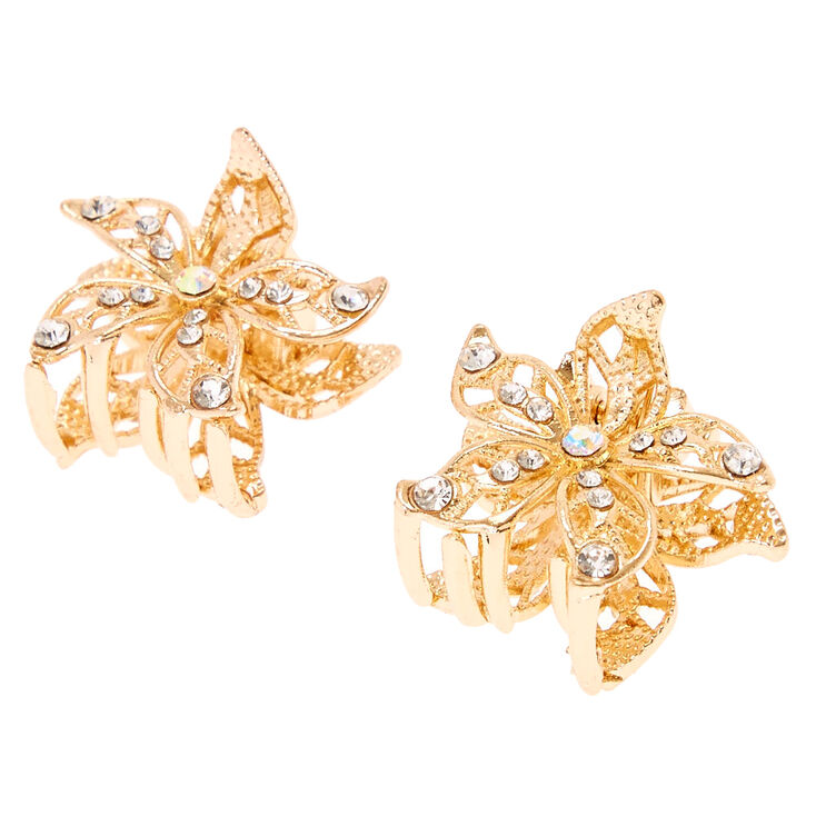Gold Flower Crystal Hair Claws,