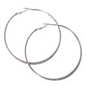 80mm Silver Glitter Tape Hoop Earrings,