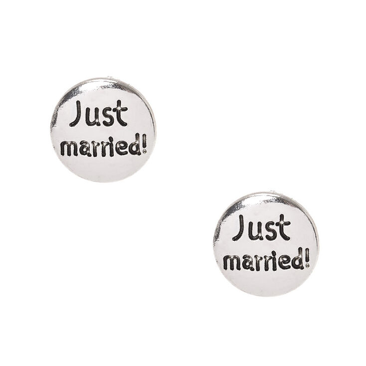 Silver Tone Just Married Disc Stud Earrings,