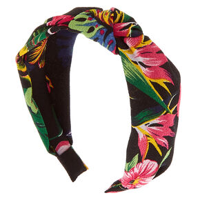 Floral Print Knotted Headband - Black,