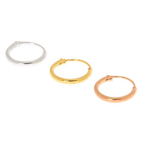 Mixed Metal Sterling Silver 22G Cartilage Hoop Earrings - 3 Pack,