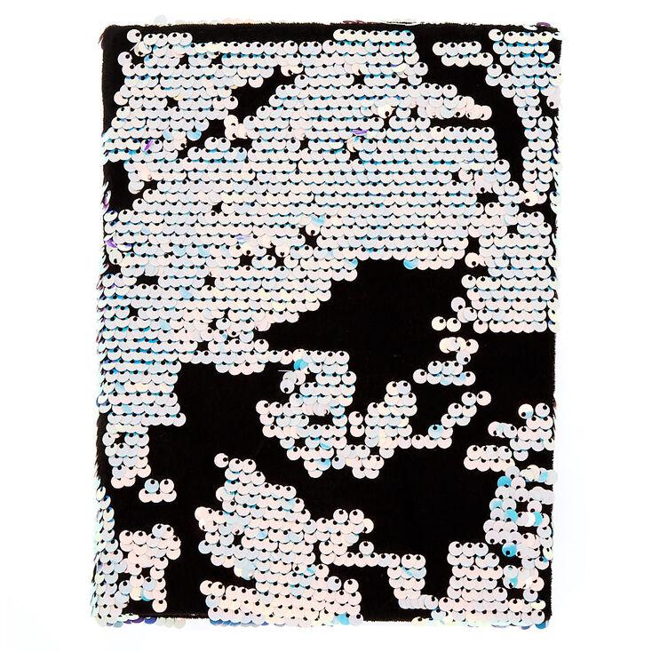Velvet Reverse Sequin Notebook - Black,