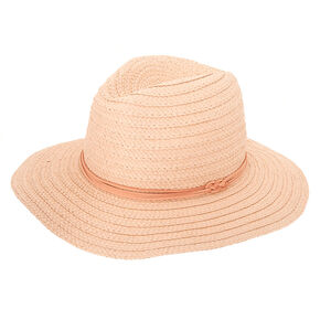 Panama Straw Sun Hat - Blush,